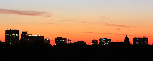 Boise, Idaho skyline silhouette: Strict copyright, John T. Baker Photographer LLC