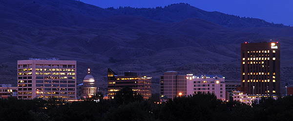 Boise, Idaho skyline, twilight - Strictly copyrighted John T. Baker Photographer LLC, JayBee Stock.com