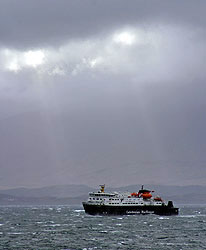 Caledonian MacBrayne ferry, stormy Sound of Mull, Scotland - Strictly copyrighted John T. Baker Photographer LLC, JayBee Stock.com
