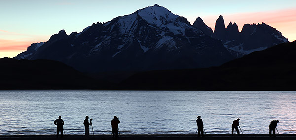 Photo tiour clients at Largo Amarga and the Paine Massiff, Torres del Paine, Chile