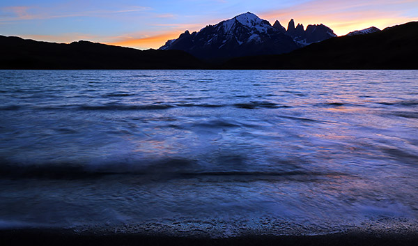 Sunset at Largo Amarga and the Paine Massiff, Torres del Paine, Chile