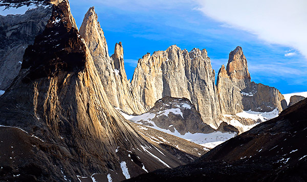 The Towers in the Paine massiff mountain range, Torres del Paine, Chile