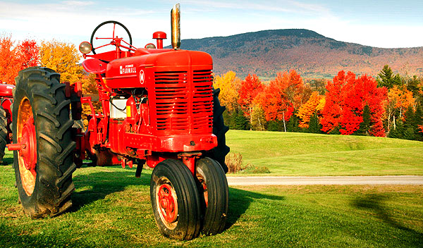 Red tractor and fall colors, Vermont, New England