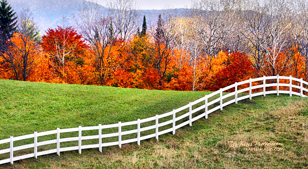 White fence, Darling Hill Road, Vermont, New England